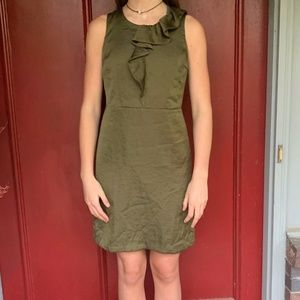 Green Dress with Front Ruffle
